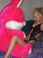 Blonde Teen In Sexy Dress Enjoying Her Rabbit