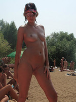 Russian Milf Nudist Showing Her Shaved Pussy