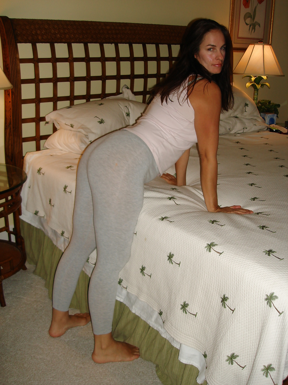 Horny Milf In Yoga Pants Teasing In Her Bed - Fuqer Photo-3646