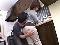 Immodest Boy Sneaks Mom From Behind To Grab Her For Ass