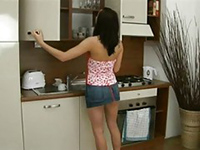 Teen Girlfriend Wanted To Work Something In Kitchen