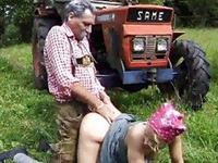 Old Horny Villager Banging Neighbors Busty Wife In The Field