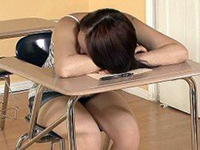 Schoolgirl Regret For Falling A Sleep In The Classroom