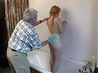 Daddy Insist To Help And Wash Her Back