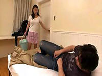 Japanese Mom Enters Room At Totally Bad Moment And Catches Stepson Masturbating