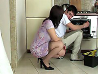 Horny Housewife Beggs Young Repairman To Fuck Her