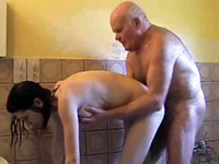 Filthy Grandpa Pretends To Need Help With Showering