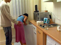Young Wife Grabbed From Behind In The Kitchen By Immodest Boy