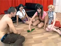 Spin The Bottle Game Turns Into Foursome Sex Orgy