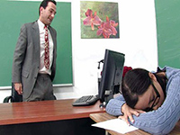 Teacher Wakes A Sleeping At The Desk Schoolgirl Up