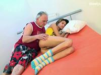 Sleeping Teen Gets Awaken By Dirty Old Grandpa