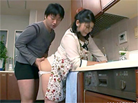 Japanese Boy Interrupt Uncle's Mature Wife In The Kitchen