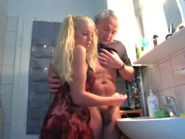 Daughter gives grandpa hand job