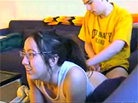 Nerdy Girlfriend Fucked While Watching Tv