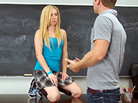 Slutty Blonde Schoolgirl Fucks Teacher In The Classroom