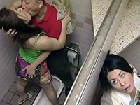 Horny Stalker Spying On Couple Fucking In Public Toilet