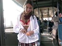 Beautiful Russian Schoolgirl Ashamed In Crowded Bus