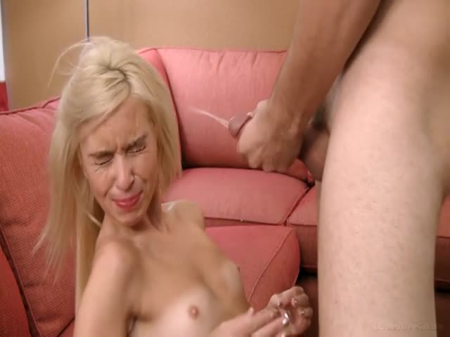 Blonde Teen Disgusted With Messy Facial Cumshot