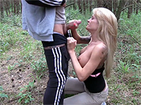 Skinny Big Tit Blonde Bends Over In The Woods For Anal