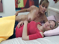Sexy Cougar Mom Seduced Innocent Sleeping Girl