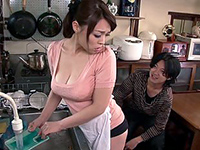 Japanese Mom Groped From Behind While Washing Dishes