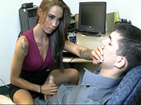 Amazing Secretary Gives Her Boss A Relaxing Handjob