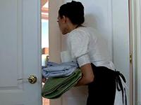 Nasty Maid In Uniform Serving Her Boss