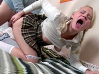 Pale Blonde Schoolgirl In Skirt Gets Her Ass Drilled Deep