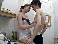 Horny Amateur Teen Couple Fucking In The Kitchen