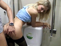 Naive Blonde Tricked Into Fucking In The Shopping Mall Bathroom