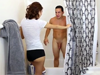 Naked women shower togather apologise, that