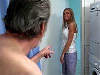 Attractive Blonde Babe Gets In The Shower To Fuck Old Grandpa