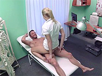 Sexy Blonde Nurse Helps Patients Feel Better