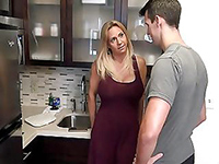 Cheating Blonde Milf Fucks In The Kitchen And Gets Facial