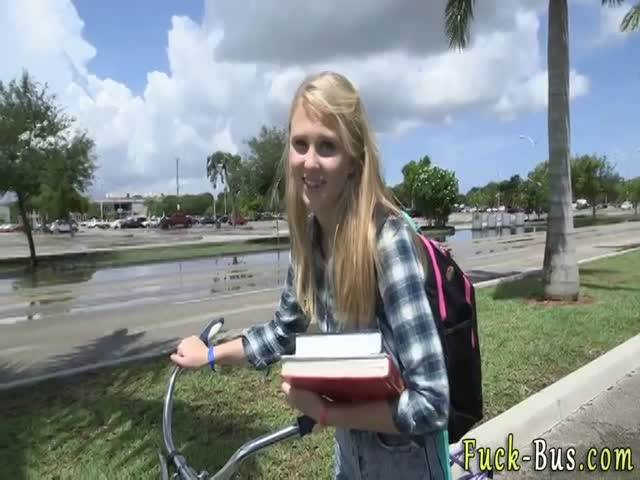 Blonde Teen Is Stopped On The Way To School And Fucked Hard