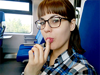 Naughty Girlfriend Gives A Deep Blowjob In The Train