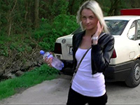 Sweet Blonde Chick Gifting Stranger With A Blowjob Outdoor
