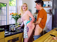 Blonde Chick Gets Her Brain Fucked Out In Kitchen While Cooking