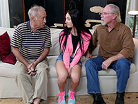 Two Old Men Having Fun With Sexy Brunette Teen Girl