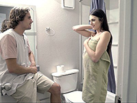 Horny Step Brother Talks Her Into Quickie Sex After Shower