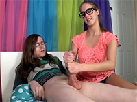 Naughty Teen Jerks Off Her Nerdy Step Brother For Fun