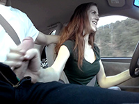 Risky Handjob While Driving Down The Road Ends With Facial Cumshot