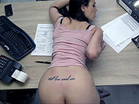 Very Kinky Brunette Bent Over The Desk And Anal Fucked