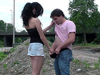 Amateur Euro Babe Gets Paid For A Quickie Outdoor Fuck