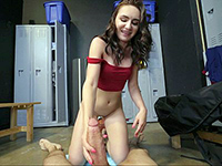Horny Cheerleader Riding Big Cock In The Changing Room