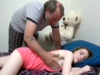 Dirty Stepdad Fucks His Tiny Teen Girl While Sleeping