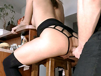 Naughty Babe Gets Anal Fucked On A Bar Stool