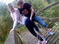Horny Teen Couple Fucks On The Bridge Over The River