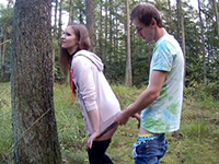 Natural Amateur Teen Get Cum On Her Ass In The Woods