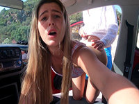 Horny Blonde Teen Gets Fucked Hard In The Car On Public Parking